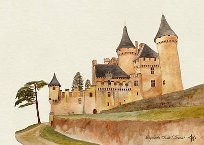 Knights Castle Painting - Puymartin Castle by Angeles M Pomata