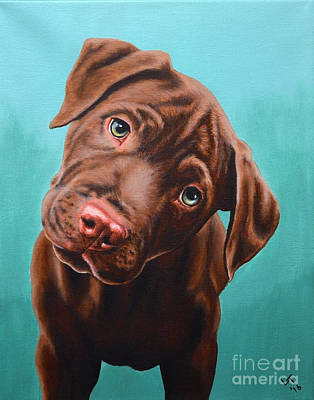Pittie Painting - Puzzled Puppy by Laura Thomson