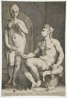 Drawing - Pygmalion And Galatea by Hendrik Goltzius