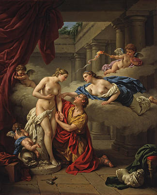 Painting - Pygmalion And His Statue by Louis-Jean-Francois Lagrenee
