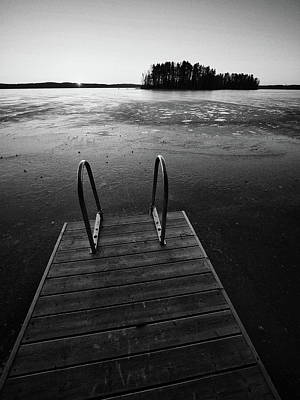 Photograph - Pyhajarvi Sunrise No Swimmers Bw by Jouko Lehto