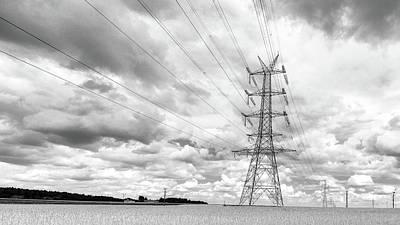 Photograph - Pylon In Farmland Bw by Jacek Wojnarowski