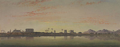 In The Distance Painting - Pylons At Karnak, The Theban Mountains In The Distance by Edward William Cooke