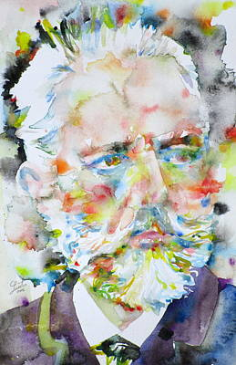 Painting - Pyotr Ilyich Tchaikovsky - Watercolor Portrait by Fabrizio Cassetta