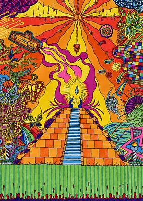 Mayan Drawing - Pyramid by Evan Purcell