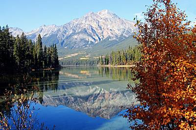 Photograph - Pyramid Mountain Reflection 3 by Larry Ricker