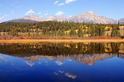 Photograph - Pyramid Mountain Reflection by Larry Ricker