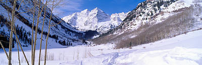 North American Photograph - Pyramid Peak And Maroon Bells by Panoramic Images