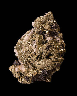 Pyrite Photograph - Pyrite With Quartz by Jim Hughes