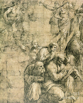 Grid Drawing - Pythagoras, Detail From The Cartoon For The School Of Athens by Raphael
