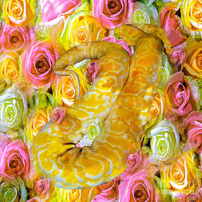 Painting - Python Snake And Roses by Saundra Myles