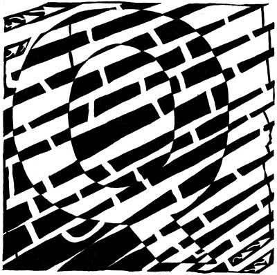 Alphabet Mazes Drawing - Q Maze by Yonatan Frimer Maze Artist