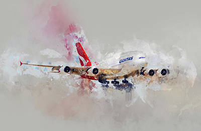 Photograph - Qantas Air Bus Water Color by Rospotte Photography