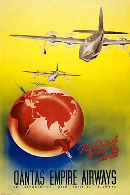 Airways Mixed Media - Qantas Empire Airways by David Wagner