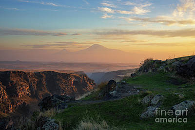 Photograph - Qasakh Gorge And Ararat Mountain At Golden Hour by Gurgen Bakhshetsyan