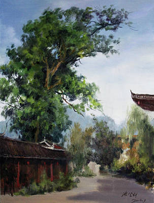 Outdoor Still Life Painting - Qiang Phoebe by Dengke Zhang