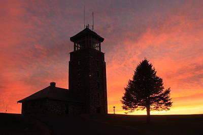 Quabbin Reservoir Photograph - Quabbin Park Tower Sunset by John Burk