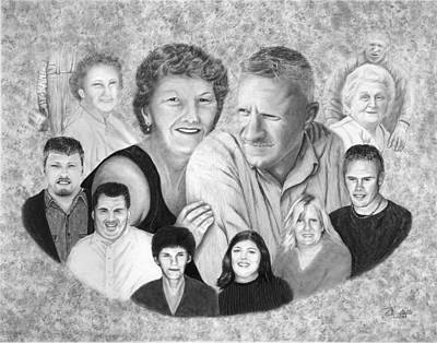 Drawing - Quade Family Portrait  by Peter Piatt