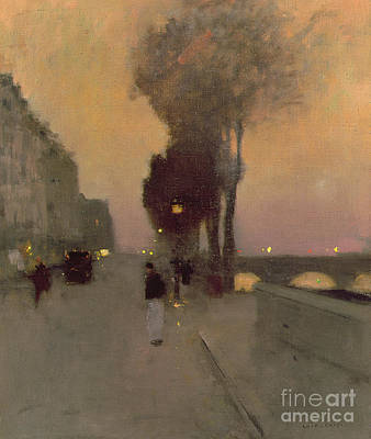 European Street Scene Painting - Quai Bourbon, Paris by Luigi Loir