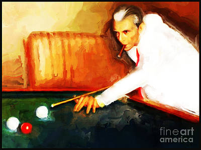 Snooker Painting - Quaid E Azam Playing Snooker by Gull G