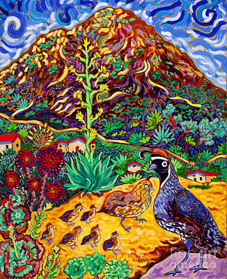 Agave Painting - Quail Crossing by Cathy Carey