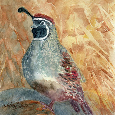 Painting - Quail In The Brush by Mary Benke