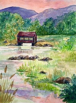 Painting - Quaint Covered Bridge East Durham Catskills  by Ellen Levinson