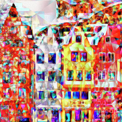 Photograph - Quaint European Town In Abstract Cubism 20170329 by Wingsdomain Art and Photography