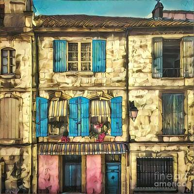 Tuscan Digital Art - Quaint Row Houses With Colorful Shutters by Amy Cicconi