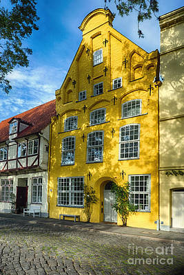 Lubeck Photograph - Quaint Yellow House In Old Town Lubeck by George Oze