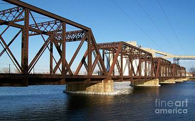 Using The River Photograph - Quaker Oats Old Railway Bridge by Marsha Heiken