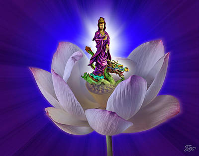 Photograph - Quan Yin Emerging From A Lotus by Endre Balogh