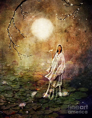 Quan Yin In A Lotus Pond Art Print by Laura Iverson
