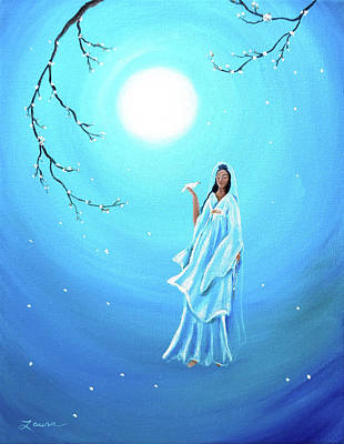 Quan Yin In Teal Moonlight Art Print by Laura Iverson