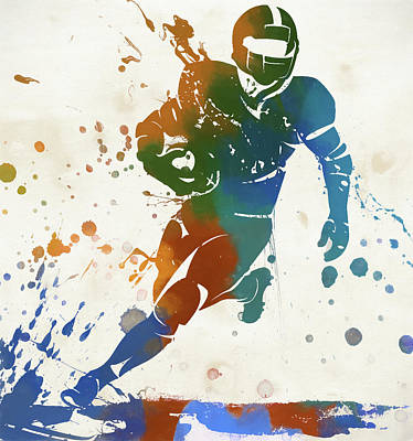 Running Back Painting - Quarterback Paint Splatter by Dan Sproul