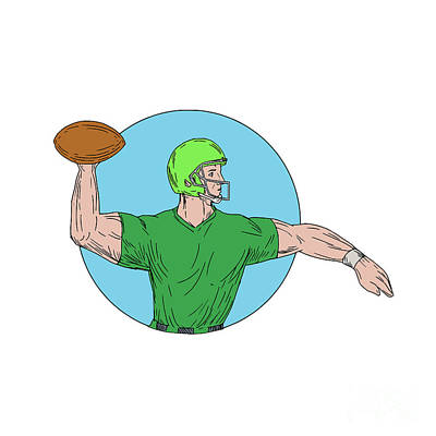 Hand Thrown Digital Art - Quarterback Qb Throwing Ball Circle Drawing by Aloysius Patrimonio