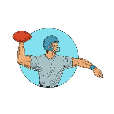 Hand Thrown Digital Art - Quarterback Qb Throwing Ball Motion Circle Drawing by Aloysius Patrimonio