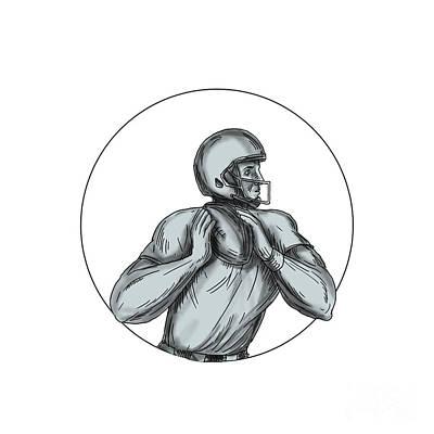 Hand Thrown Digital Art - Quarterback Qb Throwing Football Tattoo by Aloysius Patrimonio