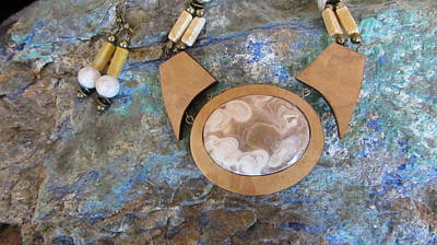 Jewelry - Quartz Agate Set In Gourd Wood #d104 by Barbara Prestridge