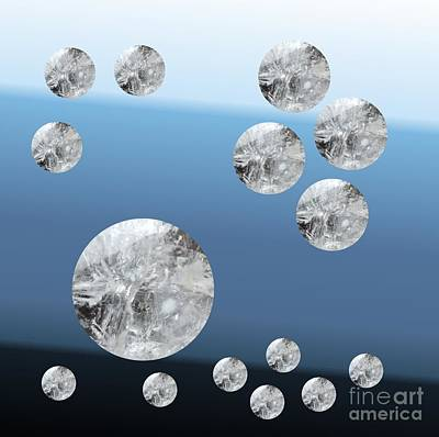 Digital Art - Quartz Crystal Circles On Blue by Rachel Hannah