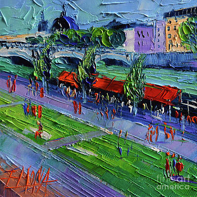 Painting - Quays Of The Rhone - Modern Impressionist Stylized Cityscape by Mona Edulesco