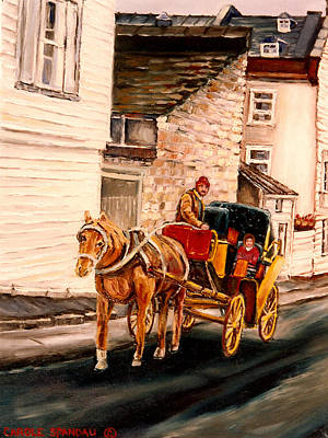 Caleche Painting - Quebec City Carriage Ride by Carole Spandau