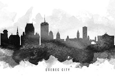 Quebec Cities Painting - Quebec City Cityscape 11 by Aged Pixel