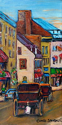 Horse And Buggy Painting - Quebec City Street Scene  Caleche Ride by Carole Spandau