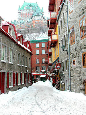 French Signs Photograph - Quebec City Winter by Thomas R Fletcher