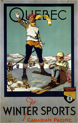 Royalty-Free and Rights-Managed Images - Quebec for Winter Sports - Canadian Pacific - Retro travel Poster - Vintage Poster by Studio Grafiikka