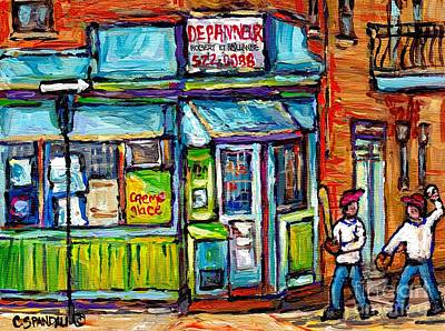 Baseball Scene Painting - Quebec Painting Place Dufresne Boys Play Baseball At Corner Store Best Montreal Depanneur Art Scene by Carole Spandau