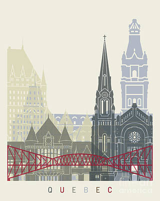 Quebec Painting - Quebec Skyline Poster by Pablo Romero