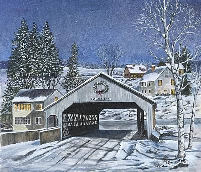Snow Covered Ground Painting - Quechee Covered Bridge by Lucille R Major