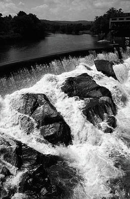 Print featuring the photograph Quechee, Vermont - Falls 2 Bw by Frank Romeo